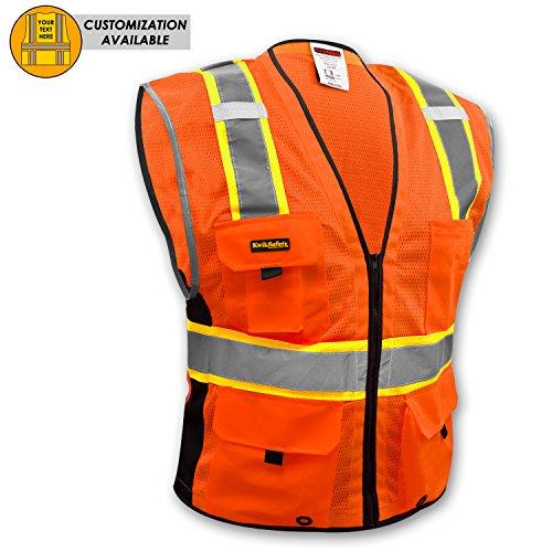 (KwikSafety BIG KAHUNA Safety Vest | Class 2 ANSI OSHA PPE | High Visibility Reflective Stripes, Heavy Duty Mesh with Pockets and Zipper | Hi-Vis Construction Work Hi-Vis Surveyor | Men Orange L/XL)
