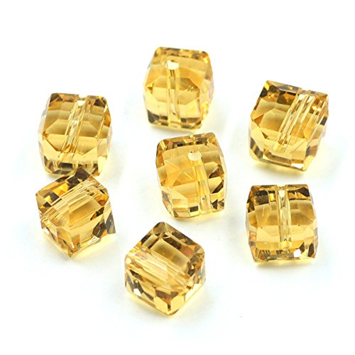 Gold Crystal Square Beads DIY Crafts Material 10MM Chinese Lampwork Glass Loose Cube Plating Beading For Jewelry Making - Lampwork Beads Square