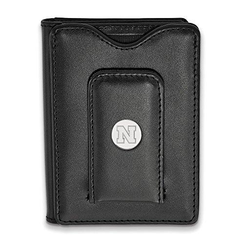 Leather LogoArt Silver Wallet Black University of 925 Nebraska Sterling T0x8nWag