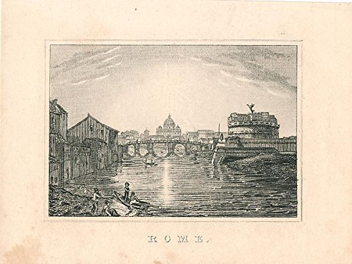 River view of Rome Italy 1841 charming Miniature engraving print ()