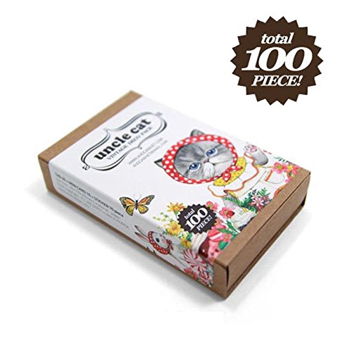 Cat Sticker Bookmark Gift Card 100pcs Set Sheets Decal Label Cat Collection forChildren, Teacher, Parent, Grandparent, Kids, Craft, School, Planners & Scrapbooking