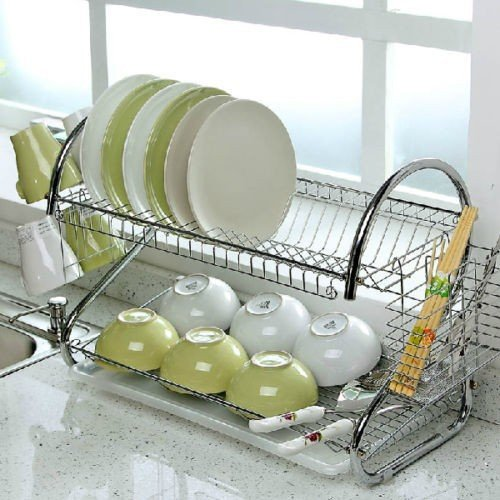 2 Tier Chrome Plate Dish Cutlery Cup Plates Drainer Rack Drip Tray Holder Organiser