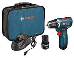 The Bosch PS32-02 12 V Max EC Brushless 3/8 In. Drill/Driver is only 2 Lbs. and has a head-length of only 6.5 in. This lightweight powerhouse is a terrific solution for contractors or MEP professionals who have extended overhead or hard-to-re...