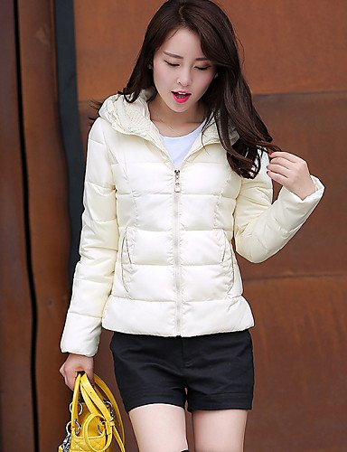 Padded Black Short Polyester Cotton YRF Sleeve Red Green Simple YELLOW Blue Hooded Long Casual Daily XL Women's Yellow Pink Coat Solid White ETZEw5W4qr