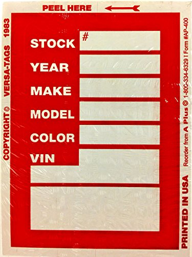Decal Tag - A Plus Dealer Stock Sticker Kleer-Bak Versa Tag, Red, Quantity 500 (F6)