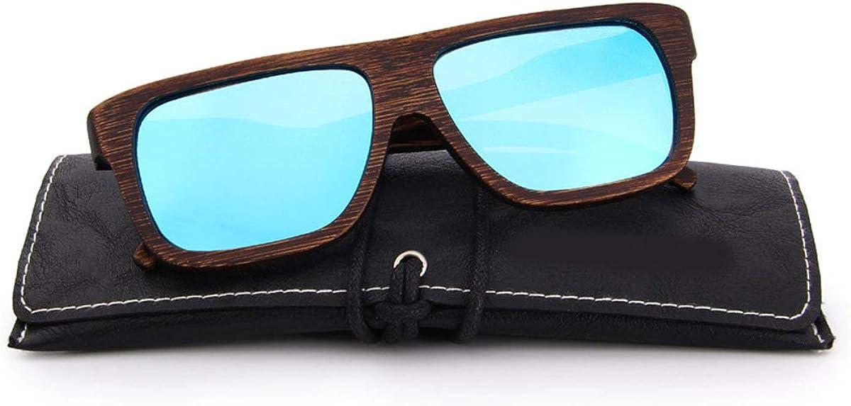 RTGreat DESIGN Men Wooden Sunglasses Des lunettes de soleil Square Polarized Sun Glasses HAND MADE 100% UV Protection S5066 C02 Blue