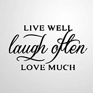 Live Well, Laugh Often Wall Sticker,Love Much Vinyl Wall Decal,Decor for Windows,Living Room,Bumper,Laptop,Tumbler,Bathroom Home Decor