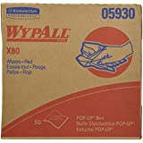 Wypall X80 Reusable Wipes (05930), Extended Use Wipers Pop-Up Box Format, Red, 80 Sheets / Box