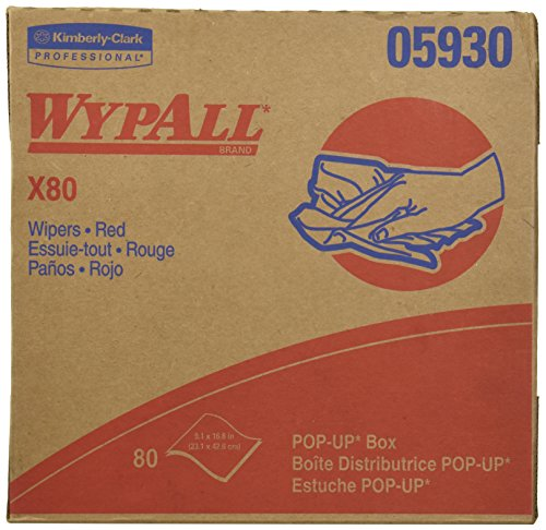(Wypall X80 Reusable Wipes (05930), Extended Use Wipers Pop-Up Box Format, Red, 80 Sheets / Box)