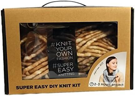 Large Wood Knitting Needles Marled Brown Super Soft Chunky Yarn Single Loop Scarf DIY Knit Kit