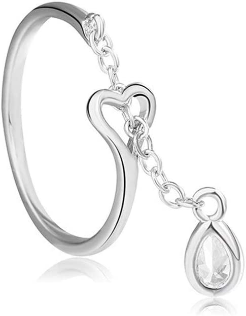NOBRAND De Moda 925 Apertura del Anillo Dedo de Plata de la Franja de Diamante Ajustable Gota de Agua pequeño Anillo Femenina Compromiso (Color : Water Ring, Size : Adjustable Opening)