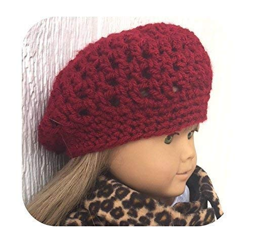 - Slouchy Beanie Hat for 18 Inch Doll, Cranberry Color Crochet Hat, fits American Girl Doll