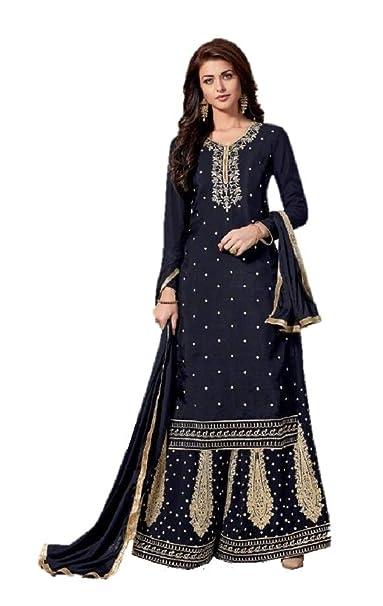 1ecc22cb9a DRAVINAM Trends Women's Uppada Silk Heavy Embroidered Stone Work Sharara  Gharara Palazzo Style Salwar Suit Dress