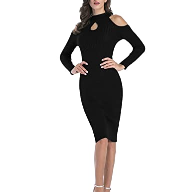 438b787076 ZQY Women s Sexy Cold Shoulder Bodycon Knitted Dress