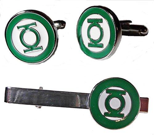 GREEN LANTERN Logo Silvertone/Enamel TIE CLIP & CUFFLINKS (Green Enamel Clip)