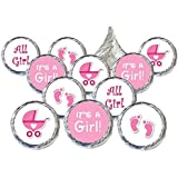Girl Baby Shower Favors 324 Stickers for Kisses Candies (Pink Baby Girl)