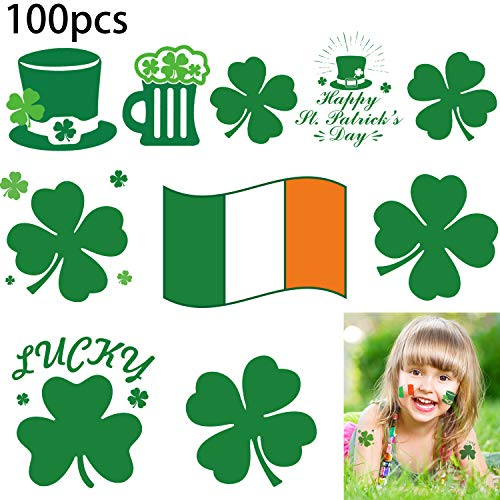 Boao St. Patrick's Day Tattoos Temporary Irish Shamrock Tattoos Saint Patricks Day Accessories Party Favors Gifts (100 Pieces)