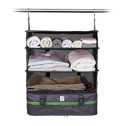 Cheap Modern Home Portable Packing Shelves Travel Closet – Large Gray/Green