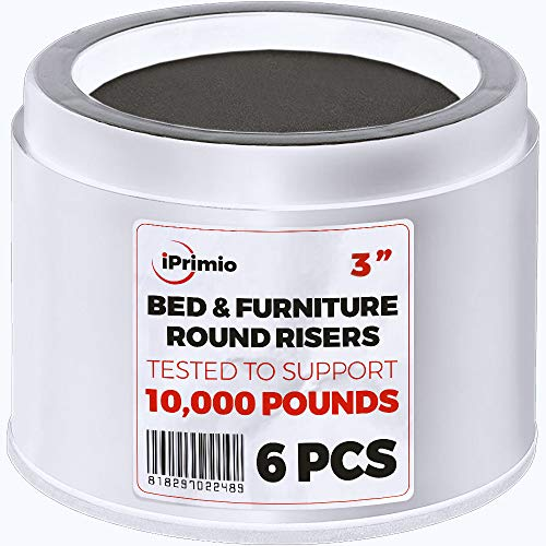 "iPrimio Bed and Furniture Risers - 6 Pack Round Elevator up to 3"" and Lifts up to 10,000 LBs - Protect Floors and Surfaces - Durable ABS Plastic and Anti Slip Foam Grip - Non Stackable - White"