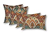 Resort Spa Home Set of 4 Indoor/Outdoor Pillows - 20'' Square Throw Pillows & 2 Rectangle/Lumbar Throw Pillows - Bohemian Retro Paisley~Teal Orange Red
