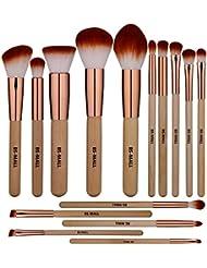 BS-MALL Makeup Brush Set 15 Pcs Wooden Eyeshadow Lip...