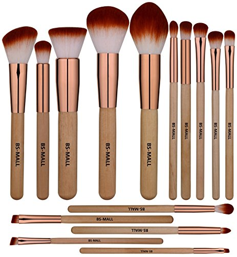 BS-MALL Makeup Brush Set 15 Pcs Wooden Eyeshadow Lip Foundat