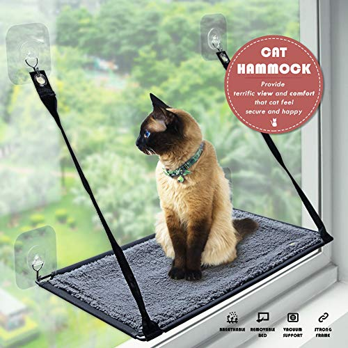 Petfactor Cat Window Perch Seat with Excellent Self-adhisive Transparent Hooks...
