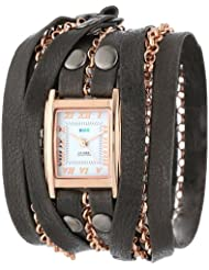 La Mer Collections Womens LMCLIFTON001 Gold-Plated Watch with Black Leather Wrap Band