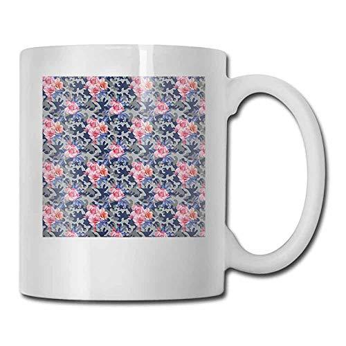 (Camo Ceramic Porcelain Mug Victorian Theme Pink Retro Design Roses Urban Fashion Nature Feminine Latte Pink Violet Blue Sage Green 11oz)