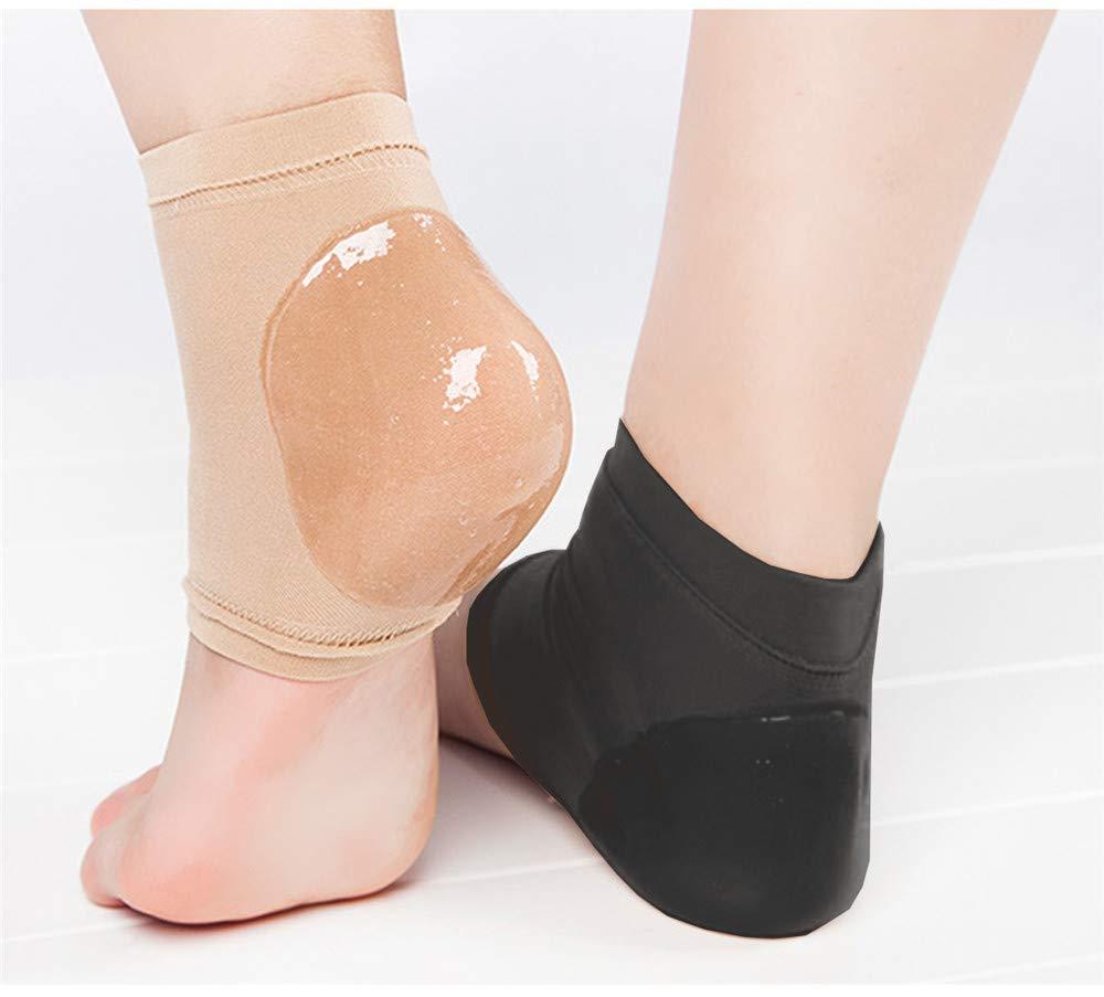 Feuchtigkeitsspendende offene Zehe Silikon Gel Fersen Socken, Spa Socken für trockene harte gebrochene Haut -2 Paar (schwarz und nackt) (Schwarz + Akt, M(EUR39-42)) Eshining