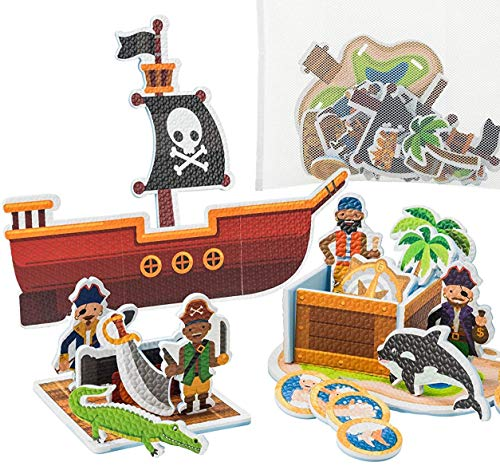 (Learn & Climb Interactive Bath Toys for Boys - Play and Build Your Own Pirate Ship. for Boys Ages 3-4-5, Toddlers and Kid - Plus Bath Toy Organizer and Bath Chore System)
