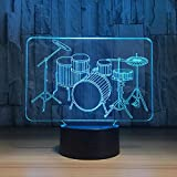 Cable Drum Coffee Table Lamp Sleeping,Lamp 3D -Drum Set 3D Night Light LED Touch Musical Instruments Table Lamp 7 Colors USB Indoor Hologram Lamp Father's Day Gift - Night Light Gift for Baby, Children,Birthday