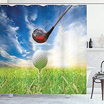 Ambesonne Sports Shower Curtain, Golf Club Themed Macro Photography Print of Lofter and Ball on Tee, Cloth Fabric Bathroom Decor Set with Hooks, 70