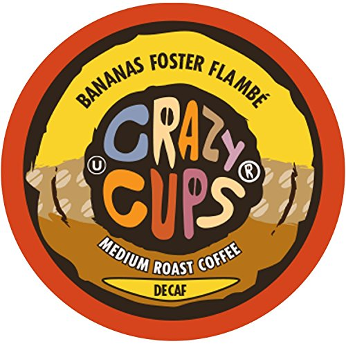 Bananas Foster Ice Cream - Crazy Cups Flavored Decaf Hot or Iced Coffee, for the Keurig K Cups Coffee 2.0 Brewers, Decaf Bananas Foster Flambe, 22 Count
