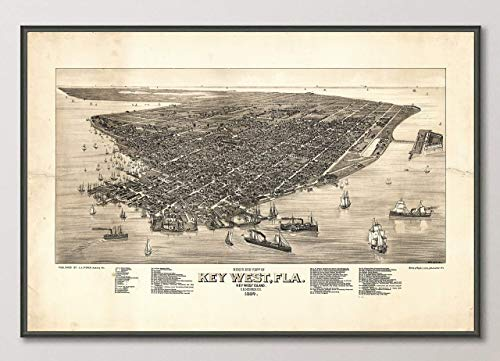 - Vintage Key West Florida Birds Eye View Map Reproduction Art Print from 1884, Unframed, Wall Art Decor Poster Sign, All Sizes