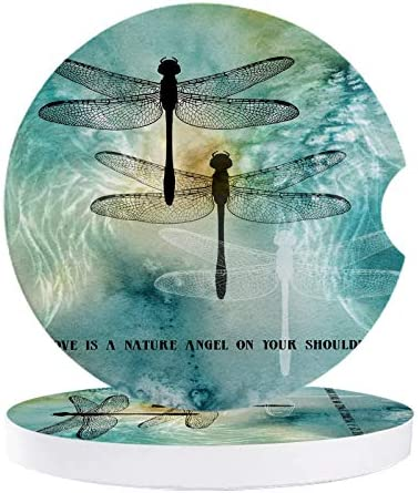 Absorbent Stone Car Coasters for Drinks Love is A Nature Angel On Your Shoulder Ink Dtyle Dragonfly Pattern 2.56 inches Car Accessories with Absorbent Coasters with Cork