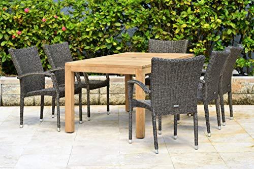 Table Set Dining Teak Rectangular (Amazonia Brussels 7-Piece Teak/Wicker Rectangular Dining Set, Light Brown)