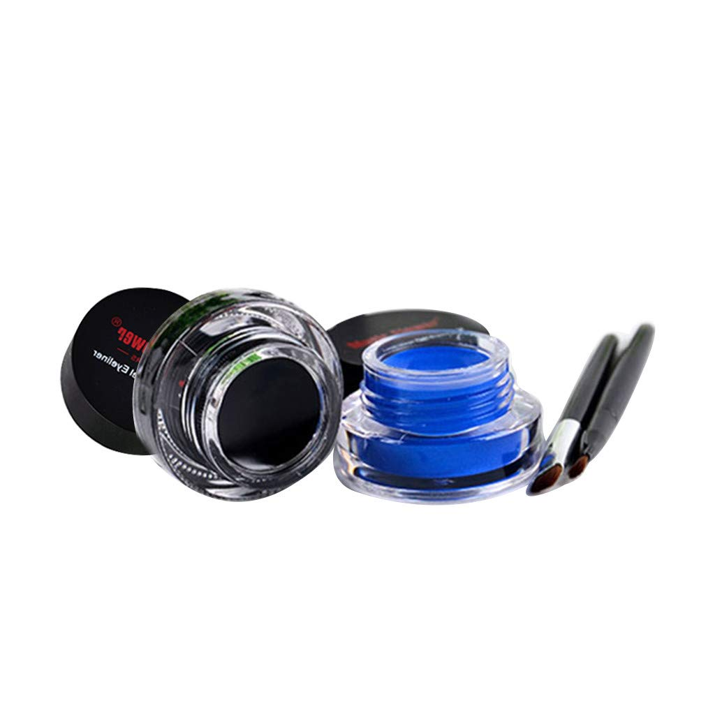 2Pcs Highly Pigmented Charm Rich Eye Liner Cream with 2Pcs Brush,Barhalk Professional Styling Sweat-Proof Eyes Makeup Kit,Long Wearing Oil-Free Gel Eyeliner Soft Nutrient Formula,No Irritating