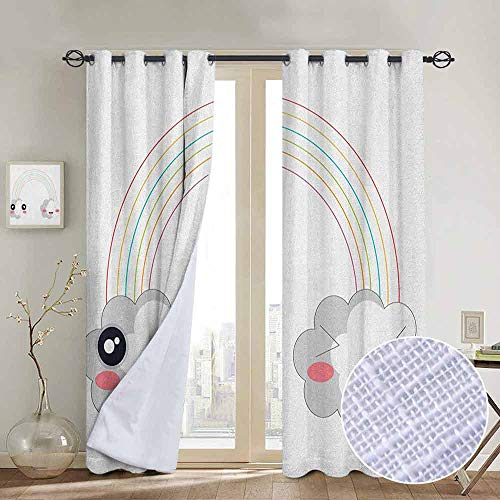 NUOMANAN Customized Curtains Anime,Two Clouds and a Rainbow Happy Face Expressions Japanese Design for Kids Nursery, Multicolor,Blackout Draperies for Bedroom Living Room 120