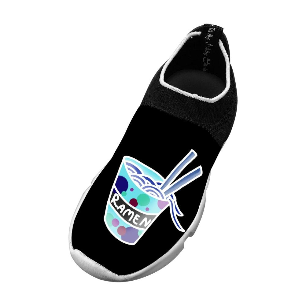 MREIO Ramen Cup Childrens Lightweight Fly Knit Shoes Leisure Loafers Sneakers Running Shoes For Kids