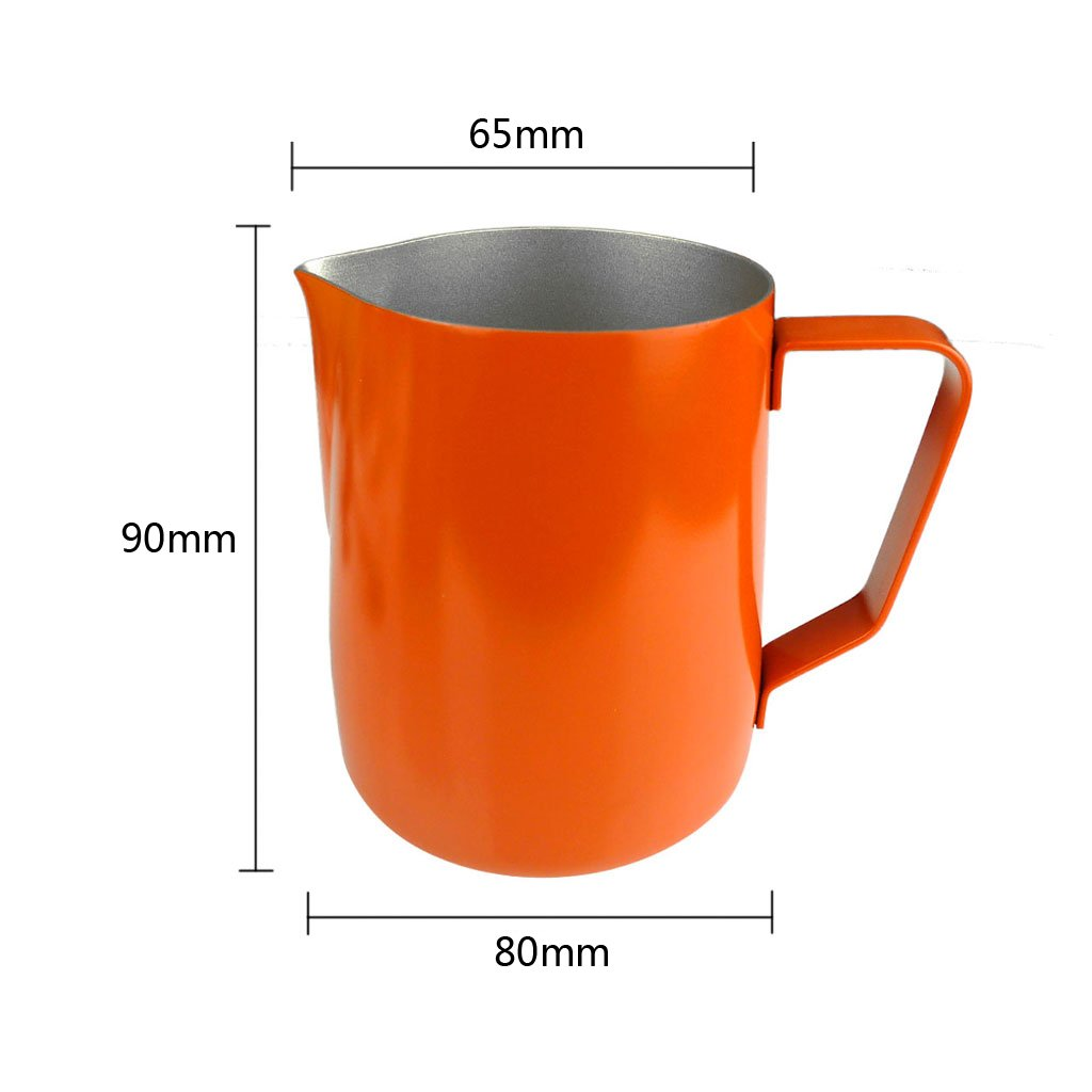 Flameer 2 x Milk Frothing Pitcher, 12oz Stainless Steel Froth Pouring Jug, Milk Frother Cup with Measurements, Milk Pitcher for Tea,Coffee & Latte Art Orange by Flameer