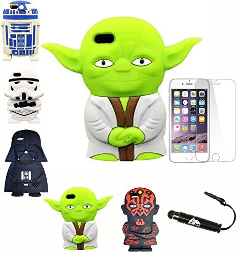 iPhone 6S Star Wars Case Bundle: 3D Jedi Master Yoda Starwars Collector Soft Silicone Cover for 4.7