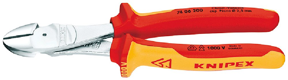 160 mm Knipex KPX7406160 High Leverage Diagonal Cutters 6,3 VDE-Tested in Blister Packaging Multi-Colour