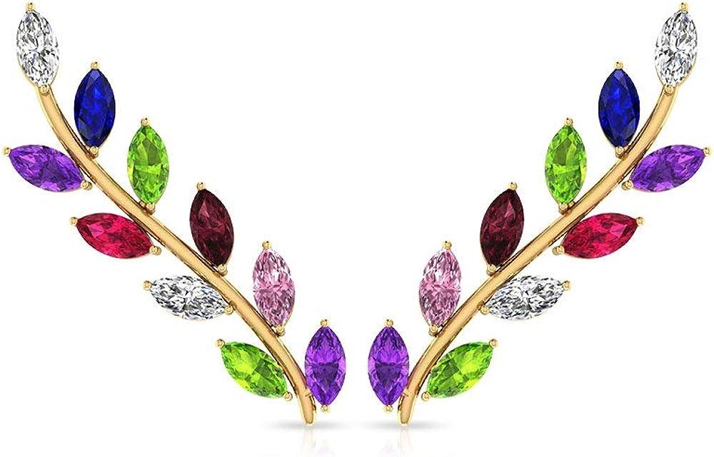 Pendiente de piedra natural arcoíris hoja trepador, oro de 14 K multi piedra para las orejas de las mujeres, minimalista colorido Boho boda aniversario, tornillo hacia atrás