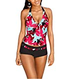 Greatgorgeous Women Halter Push Up Tankini With Panty Two Pieces Swimsuit Full Coverage (S)
