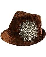 Ladies Winter Crush Velvet Fancy Rhinestone Floral Fedora Trilby Hat 56cm