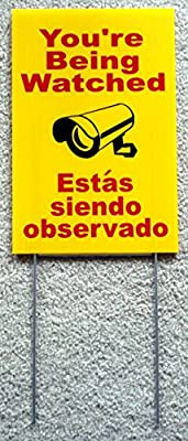 "1 Pc Preeminent Popular You're Being Watched Yard Sign Protection Anti-Robber Video Declare Size 8"" x 12"" with Stake Spanish"