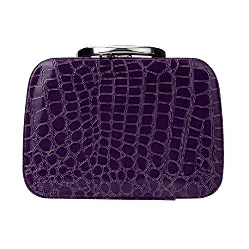 Door Mirror Gloss (Makeup Bag,Elevin(TM)Women Lady Fashion Makeup Storage Bag Case Jewelry Box Leather Travel Cosmetic Organizer (Purple))