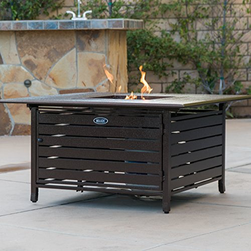 Bronze Deluxe Patio Heater (Belleze 40,000 BTU Square Rust-Resistant Gas Outdoor Propane Fire Pit Table Aluminum with Doors and Cover - Bronze)