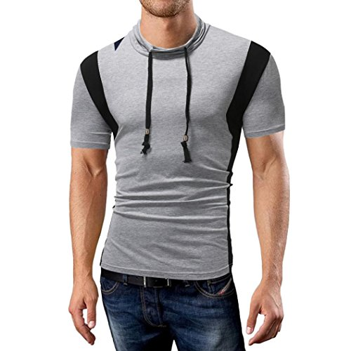 vermers Clearance Sale Fashion Men's Tops Summer Joint Casual Slim Stand Collar Short Sleeve T Shirts(XL, Gray) by vermers